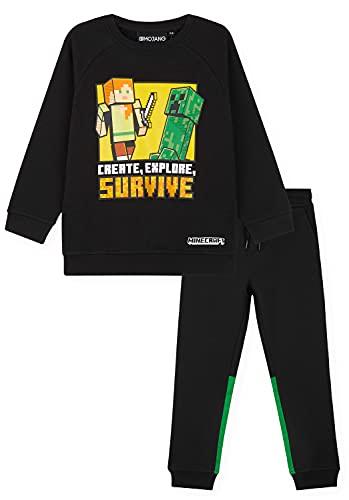 Minecraft Chandal Niño, Conjunto de 2 Piezas Sudadera con Capucha y Pantalon Chandal, Merchandising Oficial, Regalos Para Niños y Adolescentes 5-14 Años (Negro, 7-8 años)